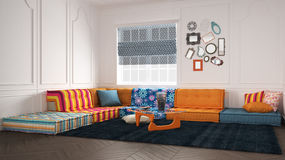 Classic living with colored modern couch sofa. Classic living with colored modern couch Stock Photography