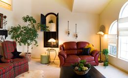 Classic Living Room. With Lamps and Couches Stock Photos