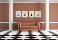 Classic living room. With sofa and two white column - rendering Stock Photography