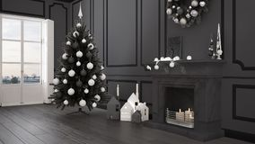 Classic living room with big window and fireplace, Christmas tre Royalty Free Stock Photos