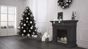 Classic living room with big window and fireplace, Christmas tre Stock Images