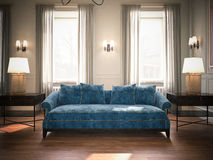 Classic living room with blue sofa. 3d rendering Stock Image