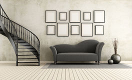 Classic living room with circular staircase Stock Image
