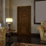 Classic living room. The door at interior Stock Photos