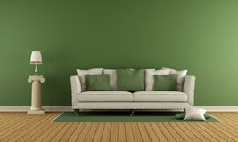 Classic living room. With elegant sofa and green wall - 3d rendering Royalty Free Stock Photography