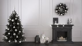 Classic living room with fireplace, Christmas tree and decors, w Royalty Free Stock Image