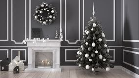 Classic living room with fireplace, Christmas tree and decors, w. Inter, new year scandinavian white and gray interior design Royalty Free Stock Photos