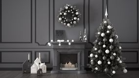 Classic living room with fireplace, Christmas tree and decors, w. Inter, new year scandinavian white and gray interior design Stock Image