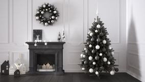 Classic living room with fireplace, Christmas tree and decors, w Stock Photo