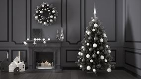 Classic living room with fireplace, Christmas tree and decors, w Stock Photography