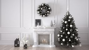Classic living room with fireplace, Christmas tree and decors, w. Inter, new year scandinavian white interior design Royalty Free Stock Photography