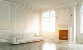 Classic living room with fireplace. Classic living room with large white sofa. Big poster on wall above fireplace. Concept of home and comfort. 3D rendering Stock Photos