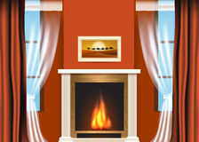 Classic living room interior with fireplace. And curtains. Vector illustration Royalty Free Stock Image