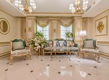 Classic living room interior. Classic luxury living room interior royalty free stock images