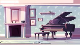 Classic living room with piano cartoon vector. Living room interior in classic style with fireplace, grand piano and paintings or family photos in wooden frame royalty free illustration