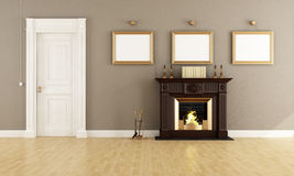 Classic livingroom with fireplace Stock Photography