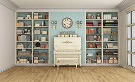Classic livingroom with upright piano and bookcase Stock Photo