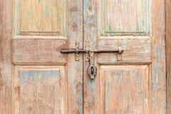 Classic lock with wooden door Stock Photos