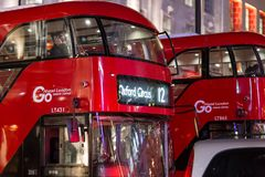 Classic London red bus in the Christmas time, London Stock Images