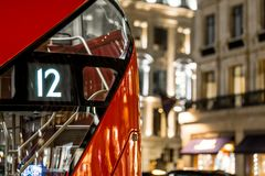 Classic London red bus in the Christmas time, London. UK Royalty Free Stock Photos