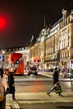 Classic London red bus in the Christmas time, London Stock Photo