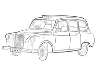 Classic london taxi car drawing illustration stock photography
