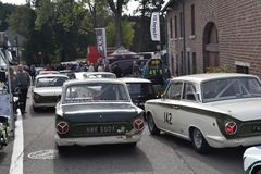 Classic Lotus Cortina ready to race Royalty Free Stock Photo
