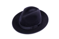 A classic low crown fedora hat in a dark blue color.  Royalty Free Stock Photography