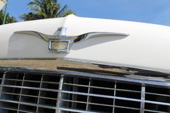Classic luxury American car detail stock photography