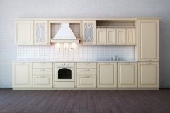 Classic Luxury Beige Kitchen. Cabinet Royalty Free Stock Images