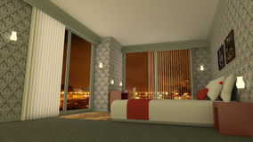 Classic luxury hotel room 3D rendering. 3D rendering of a hotel room. The interior of the luxury bedroom is classic and has design furniture. At the background Stock Images