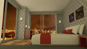 Classic luxury hotel room 3D rendering. 3D rendering of a hotel room. The interior of the luxury bedroom is classic and has design furniture. At the background royalty free illustration