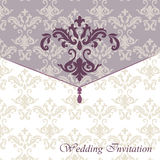 Classic luxury invitation card. With damask ornament. Vector vector illustration