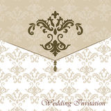 Classic luxury invitation card. With damask ornament. Vector stock illustration