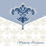 Classic luxury invitation card. With damask ornament. Vector royalty free illustration