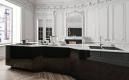 Classic luxury modern black and white kitchen Royalty Free Stock Photo