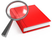 Classic magnifier and red book on white Stock Photography