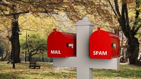 Classic mailbox with internet elements, with park as background Royalty Free Stock Images