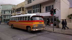 A classic Malta bus. A classic old yellow Malta bus Royalty Free Stock Photo