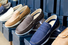 Classic man shoes colorful in a row Royalty Free Stock Image