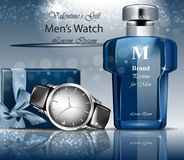 Classic Man watch and perfume Vector. 3d detailed mock up. Blue backgrounds. Classic Man watch and perfume Vector. 3d detailed mock up. Blue background Royalty Free Stock Image