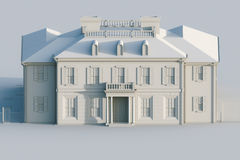 Classic mansion house. Computer visualization in grey colors. 3d Stock Photo