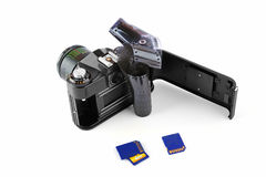 Classic manual camera with film and memory cards Stock Image