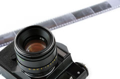 Classic manual SLR camera with film Stock Image