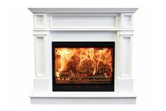 Classic marble burning fireplace isolated on white background.  royalty free stock images