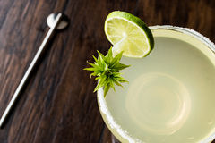 Classic Margarita Cocktail with lime and salt. Royalty Free Stock Image
