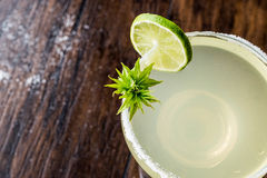 Classic Margarita Cocktail with lime and salt. Royalty Free Stock Photos