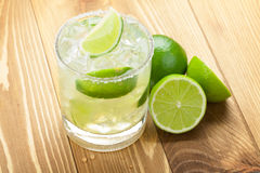 Classic margarita cocktail with lime and salty rim Royalty Free Stock Photo