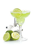 Classic margarita cocktail with salty rim Stock Images
