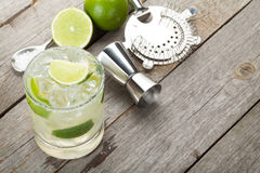Classic margarita cocktail with salty rim Stock Photos